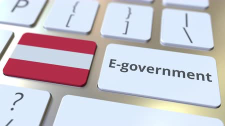 involvement : E-government or Electronic Government text and flag of Austria on the keyboard. Modern public services related conceptual 3D animation