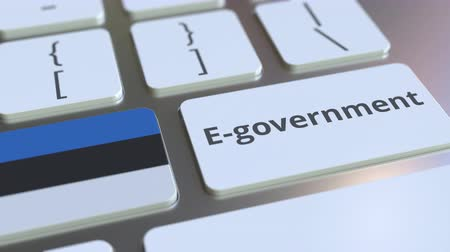 involvement : E-government or Electronic Government text and flag of Estonia on the keyboard. Modern public services related conceptual 3D animation