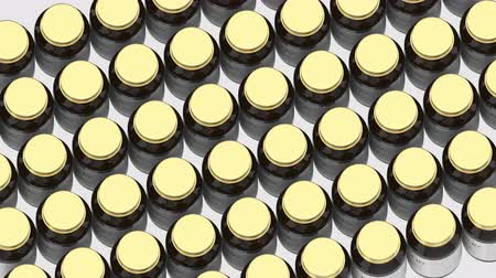 suplemento : Glass bottles with generic vitamin B7 capsules and fictional. Pharmaceutical industrial production related 3D animation Stock Footage
