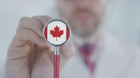 diagnóstico : Physician holds stethoscope bell with the Canadian flag. Healthcare in Canada