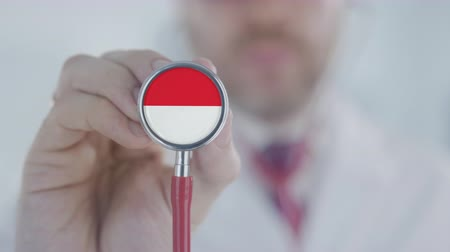 diagnóstico : Doctor uses stethoscope with the Indonesian flag. Healthcare in Indonesia Stock Footage