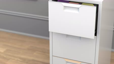 dokumentum : File with marketing data in the office file cabinet. 3D animation