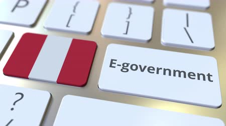 involvement : E-government or Electronic Government text and flag of Peru on the keyboard. Modern public services related conceptual 3D animation