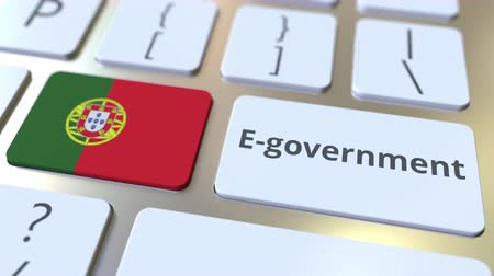 involvement : E-government or Electronic Government text and flag of Portugal on the keyboard. Modern public services related conceptual 3D animation
