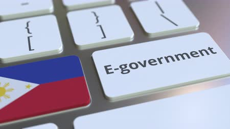 involvement : E-government or Electronic Government text and flag of Philippines on the keyboard. Modern public services related conceptual 3D animation