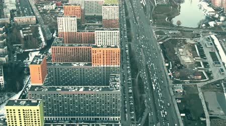 residencial : Aerial view of modern apartment houses and road traffic jam in Govorovo, Moscow. Russia Stock Footage