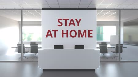distante : STAY AT HOME text on the wall of an abandoned generic modern office. Remote work or quarantine related 3D animation Stock Footage