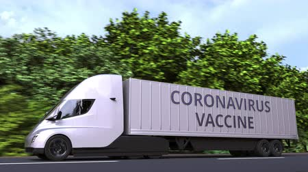 フォロー : Modern semi-trailer truck delivering coronavirus vaccine. Looping 3D animation