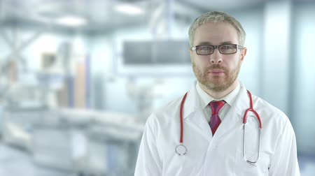 tiyatro : Portrait of a confident doctor in the modern operating room. Shot on Red camera