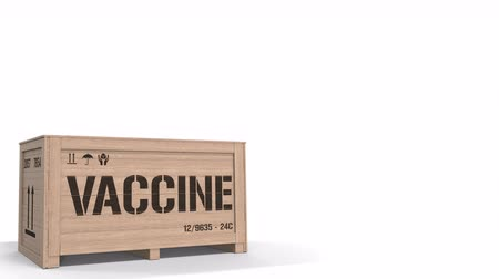 Wooden crate with a vaccine on white background. 3D animation