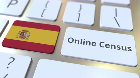 düğmeler : Online Census text and flag of Spain on the keyboard. Conceptual 3D animation