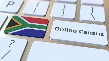 tecnologia digital : Online Census text and flag of South Africa on the keyboard. Conceptual 3D animation