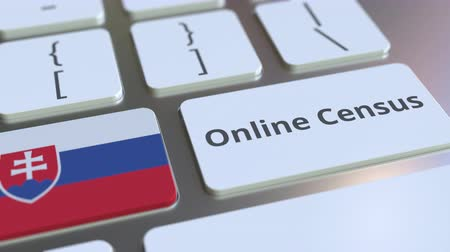 informação : Online Census text and flag of Slovakia on the keyboard. Conceptual 3D animation