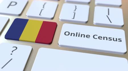 düğmeler : Online Census text and flag of Romania on the keyboard. Conceptual 3D animation