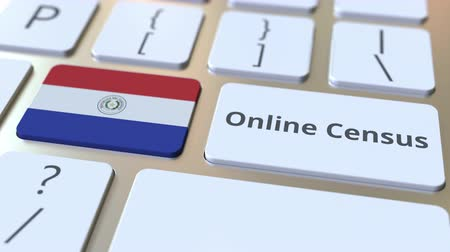 düğmeler : Online Census text and flag of Paraguay on the keyboard. Conceptual 3D animation