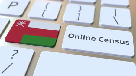 düğmeler : Online Census text and flag of Oman on the keyboard. Conceptual 3D animation