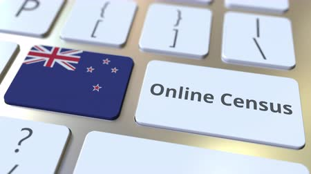przycisk : Online Census text and flag of New Zealand on the keyboard. Conceptual 3D animation