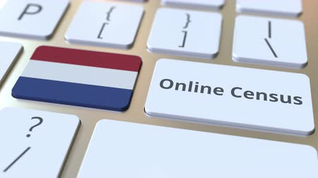 флаги : Online Census text and flag of the Netherlands on the keyboard. Conceptual 3D animation