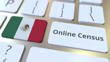 düğmeler : Online Census text and flag of Mexico on the keyboard. Conceptual 3D animation