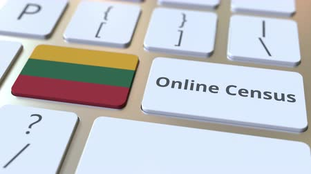 düğmeler : Online Census text and flag of Lithuania on the keyboard. Conceptual 3D animation Stok Video