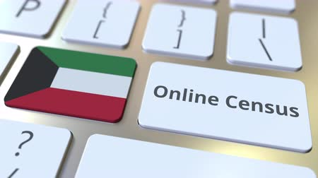düğmeler : Online Census text and flag of Kuwait on the keyboard. Conceptual 3D animation