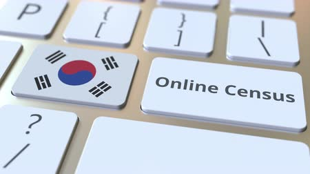 düğmeler : Online Census text and flag of South Korea on the keyboard. Conceptual 3D animation
