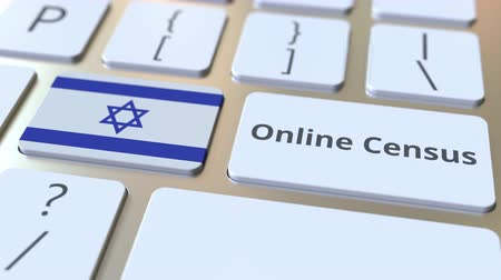 düğmeler : Online Census text and flag of Israel on the keyboard. Conceptual 3D animation Stok Video