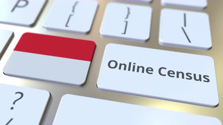 Online Census text and flag of Indonesia on the keyboard. Conceptual 3D animation Stok Video
