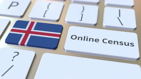 düğmeler : Online Census text and flag of Iceland on the keyboard. Conceptual 3D animation Stok Video