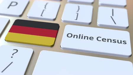 Online Census text and flag of Gemany on the keyboard. Conceptual 3D animation