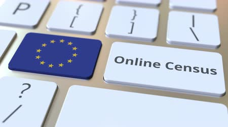 цифровой : Online Census text and flag of the European Union on the keyboard. Conceptual 3D animation Стоковые видеозаписи