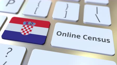 düğmeler : Online Census text and flag of Croatia on the keyboard. Conceptual 3D animation Stok Video