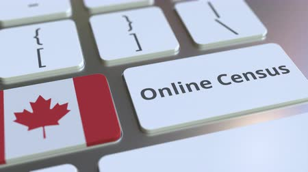 informação : Online Census text and flag of Canada on the keyboard. Conceptual 3D animation