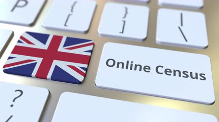 Online Census text and flag of the UK on the keyboard. Conceptual 3D animation