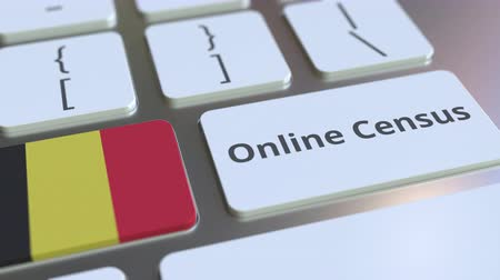 цифровой : Online Census text and flag of Belgium on the keyboard. Conceptual 3D animation Стоковые видеозаписи