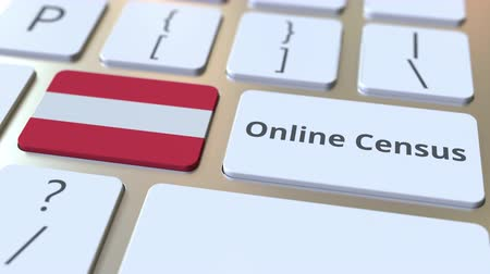 informação : Online Census text and flag of Austria on the keyboard. Conceptual 3D animation