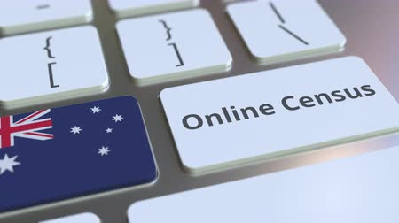 informação : Online Census text and flag of Australia on the keyboard. Conceptual 3D animation