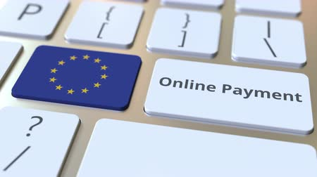 tecnologia digital : Online Payment text and flag of the European Union on the keyboard. Modern finance related conceptual 3D animation Vídeos