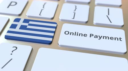 düğmeler : Online Payment text and flag of Greece on the keyboard. Modern finance related conceptual 3D animation