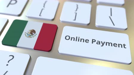 klucze : Online Payment text and flag of Mexico on the keyboard. Modern finance related conceptual 3D animation Wideo