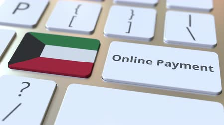 Online Payment text and flag of Kuwait on the keyboard. Modern finance related conceptual 3D animation