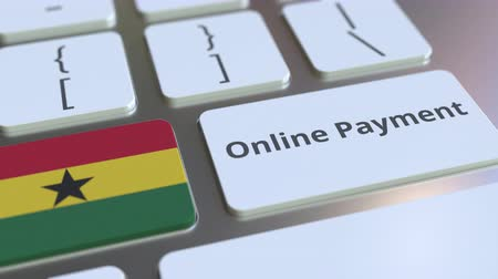 цифровой : Online Payment text and flag of Ghana on the keyboard. Modern finance related conceptual 3D animation