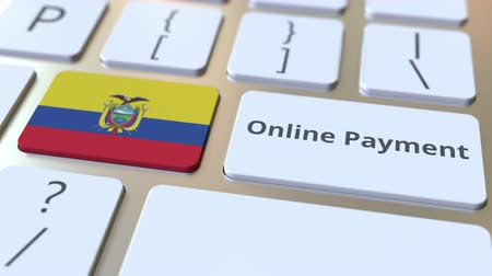 düğmeler : Online Payment text and flag of Ecuador on the keyboard. Modern finance related conceptual 3D animation
