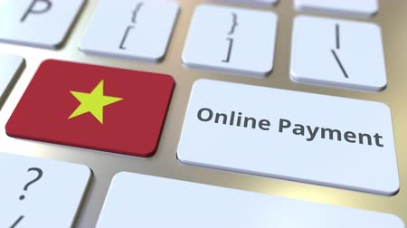 ulusal bayrağı : Online Payment text and flag of Vietnam on the keyboard. Modern finance related conceptual 3D animation Stok Video