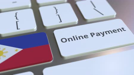 účty : Online Payment text and flag of Philippines on the keyboard. Modern finance related conceptual 3D animation Dostupné videozáznamy