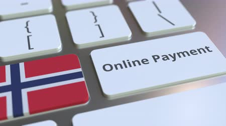 финансовый : Online Payment text and flag of Norway on the keyboard. Modern finance related conceptual 3D animation Стоковые видеозаписи