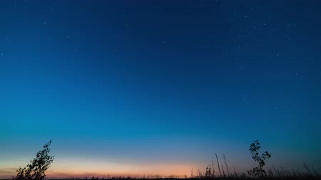 volga region : Moving stars on a sky at twilight and at night, time lapse shooting on long exposure Stock Footage