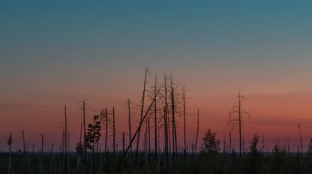 volga region : A sundown and a nightfall in rural area, time lapse shooting on long exposure
