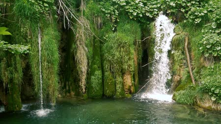 plitvice : Moss Waterfall in slow motion footage.