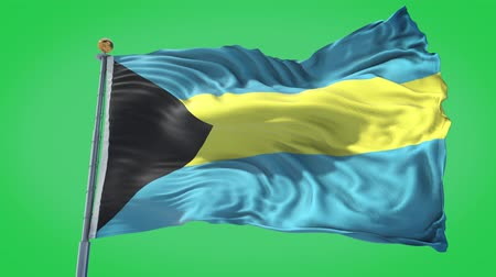 Bahamas animated flag in the wind with blue sky in the background, green screen, blue screen or isolated background and the flag on the full background, all in one animated flag pack.